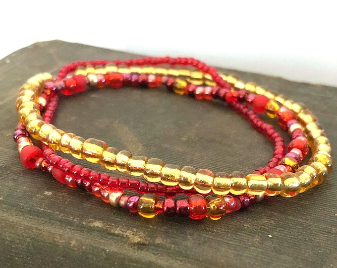Handmade Beaded Red & Gold Bracelet Set