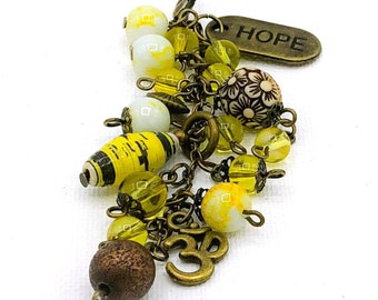 Hope, hope based, ohm, bead Purse charm, keychain, planner charm, purse accessory, beaded purse charm, gifts for her.
