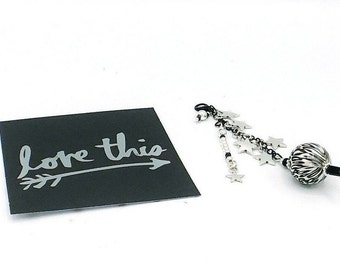Black and Silver jewelry, bead Purse charm, keychain, planner charm, purse accessory, beaded purse charm, gifts for her.