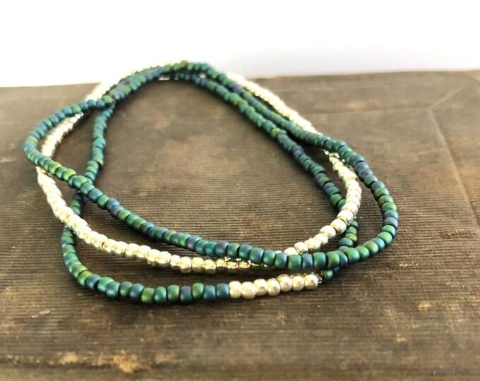 Handmade Beaded Blue Green Matte Bracelet Set