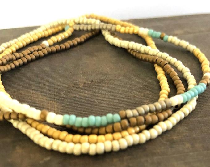 Handmade Beaded Neutral Matte Bracelet Set