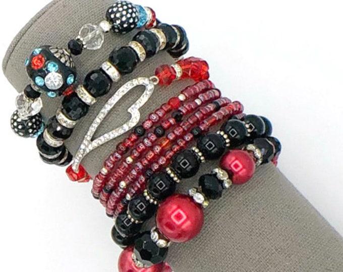Handmade Beaded Red & Black Chunky BoHo Bracelet Stack