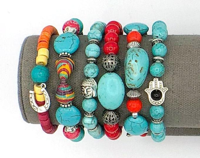 Handmade Beaded Turquoise Style Chunky BoHo Bracelet Stack