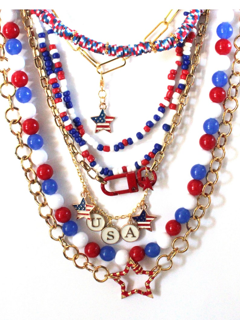 Red White & Blue Patriotic BoHo Neck Mess Layered Necklace image 0