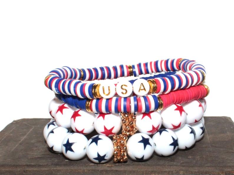 Red White & Blue Patriotic SINGLE Chunky BoHo Bracelet Stack image 0