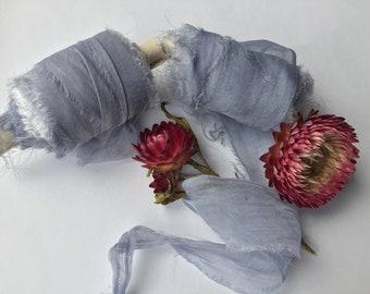 DUSTY BLUE plant-dyed recycled silk chiffon ribbon//hand-dyed//wedding//bridal//styling//stationery//gift//blue//powder blue//grey blue