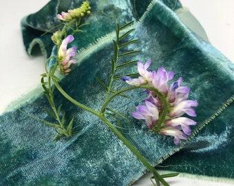 OCEAN hand dyed silk velvet ribbon//plant dyed//eco dyed//wedding ribbon//bouquet ribbon//styling ribbon//gift ribbon//green//blue//teal