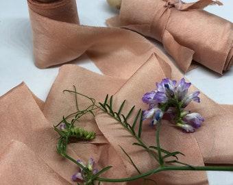 ROSE GOLD hand dyed silk habotai ribbon//naturally dyed//wedding ribbon//bouquet ribbon//styling ribbon//photo prop//gift ribbon//pink