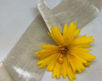 FRENCH LINEN hand dyed silk velvet ribbon//plant dyed//wedding ribbon//bouquet ribbon//styling ribbon//gift ribbon//grey//green//ivory