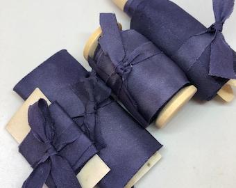 FRENCH NAVY marbled hand dyed silk habotai ribbon//plant dyed//bridal ribbon//styling ribbon//photo prop//gift ribbon//blue//French navy