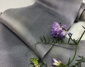PIGEON plant dyed silk ribbon//hand dyed//habotai ribbon//styling ribbon//bridal ribbon//floral ribbon//stationery ribbon//grey//gift ribbon
