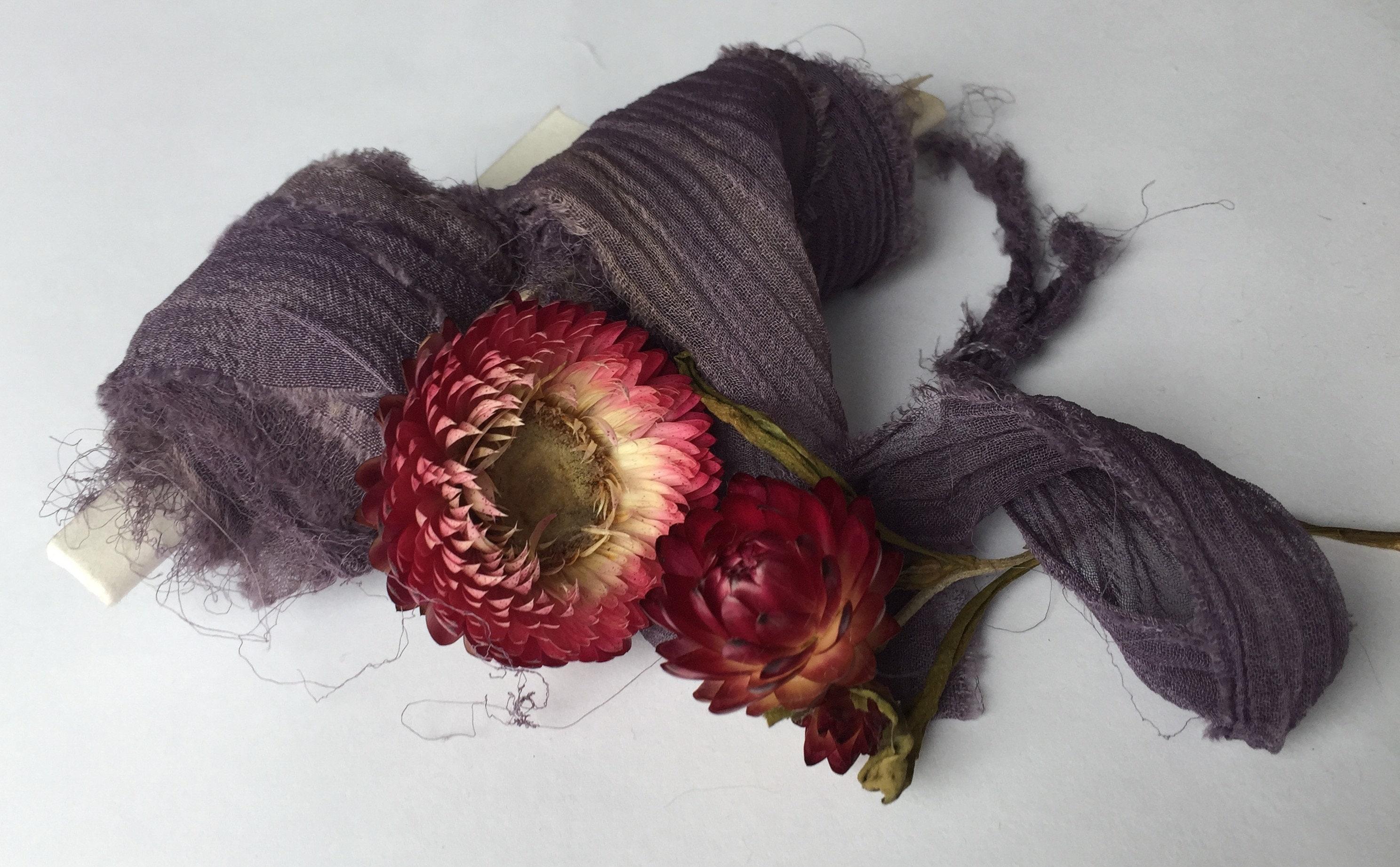 HAZE INDIGO teint teint INDIGO plante recyclé en mousseline de soie ruban / / à la main-teint/mariage ruban/mariée/style/papeterie/cadeaux/violet/mauve / / violet 63f11b