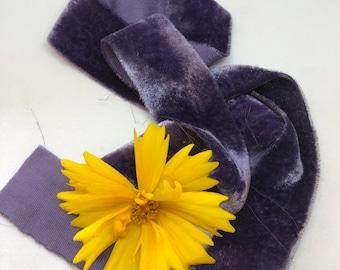 INDIGO hand dyed silk velvet ribbon//plant dyed//wedding ribbon//bouquet ribbon//styling ribbon//gift ribbon//blue ribbon//purple ribbon