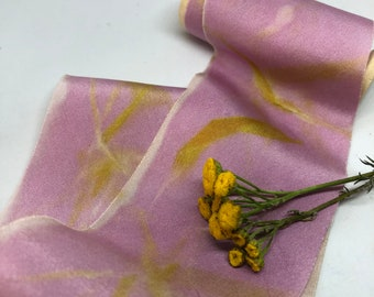 CANDY BAMBOO hand dyed silk habotai ribbon//plant dyed//eco dyed//wedding ribbon//bouquet ribbon//styling ribbon//gift ribbon//pink//yellow