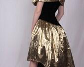 Vintage 39 Jessica McClintock for Gunne Sax 39 Gold Lame and Black Velvet Cocktail Dress Off The Shoulder Avant Garde
