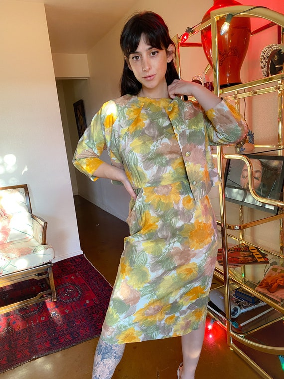 Vintage 1960's Spring Floral Mustard Yellow and Green Retro Dress W/ Matching Jacket