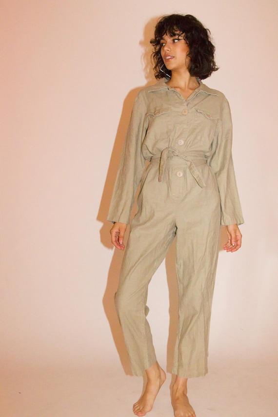 Vintage Tan Linen Button Up Summer Jumpsuit