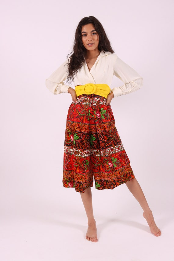 Vintage 1960's - 1970's Retro Floral Pant Jumpsuit | One Piece | White Blouse | Boho | Festival | Chic | Psychedelic