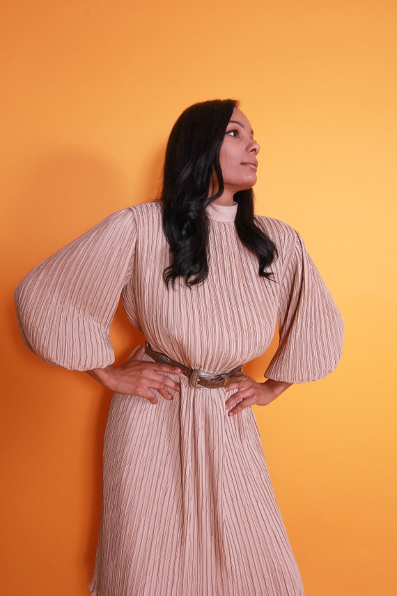 Vintage 'PIERRE LABICHE' Paris - New York Avant Garde Posh Two Piece Nude Set | Blouse and High Waisted Skirt