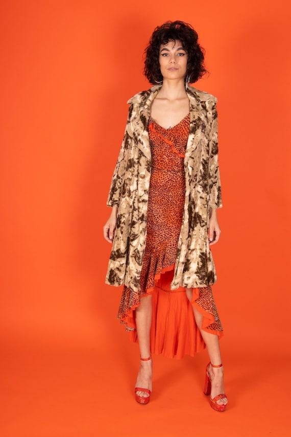 Vintage 1970's Camo Leopard Neautral Faux Fur Plush Coat