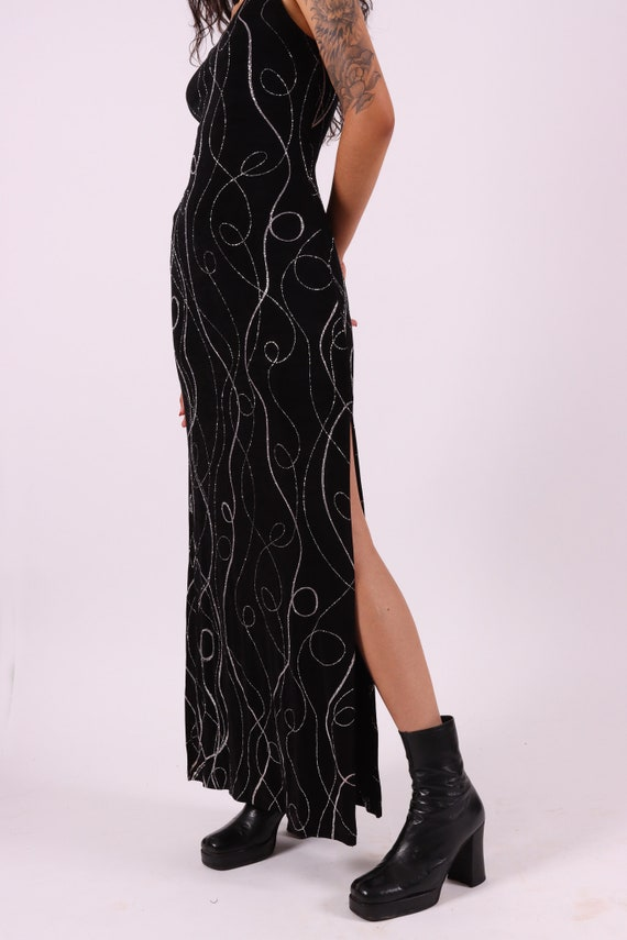 Vintage 90's 'All That Jazz' Black Stretchy Dress W/ Fun Silver Glitter Design
