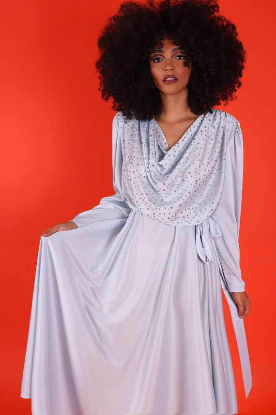 Vintage Plus Size 1970's Party Ice Blue and Glitter Disco Gown Dress