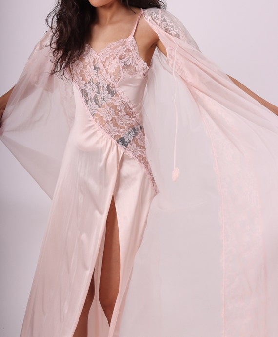 Vintage 'Vae Mode' Palest Pink Slit Lace Nightgown W/ Matching Sheer Robe | Precious | Romantic | Burlesque | Sexy