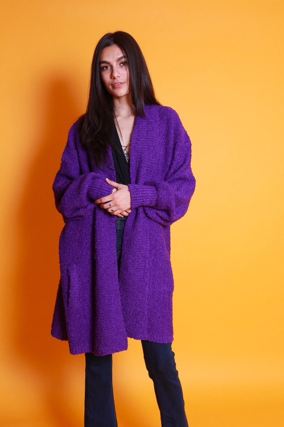 Vintage One Size Fits Most 90's Knit Purple Oversized Cardigan Throw On Sweater   Comfy and Stylish Casual