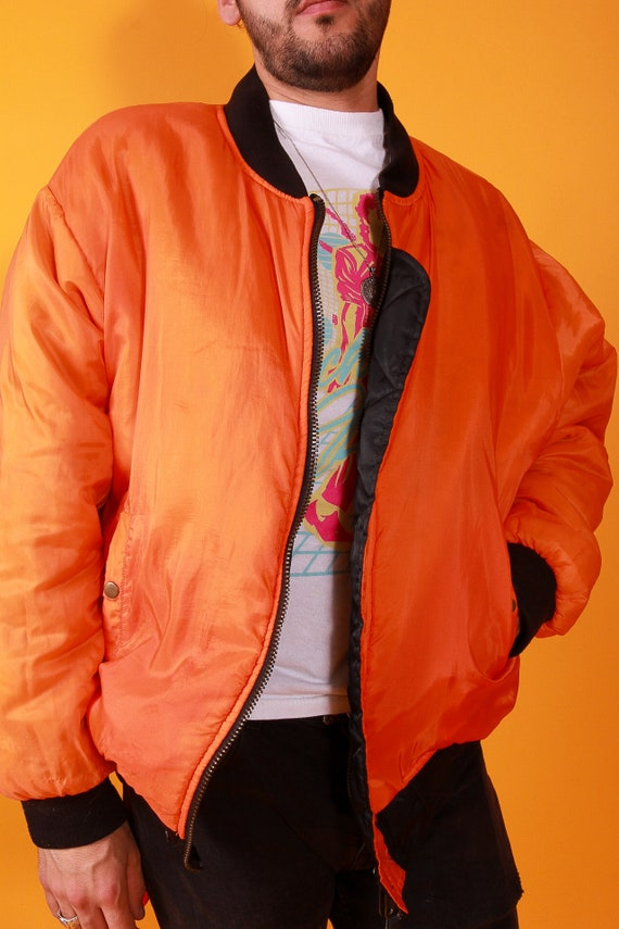 Men's Vintage Reversible Orange and Black Puffer Bomber Jacket