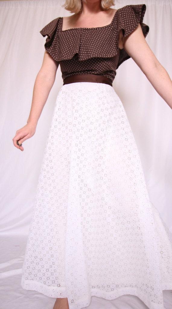 Vintage Retro 'Herman Marcus' Dallas Texas Dress | White Eyelet | Brown Polk-a-Dot | Ruffled | Long