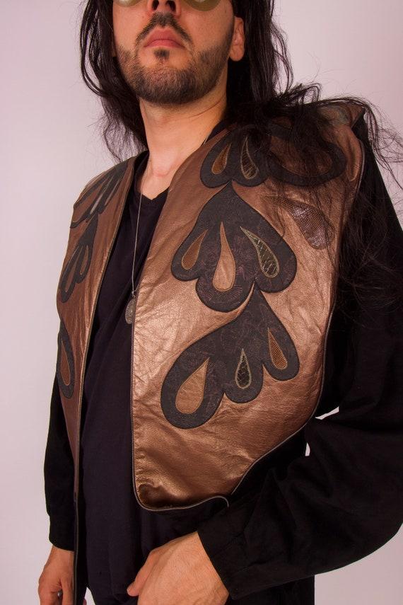 Vintage Unisex 'Cherté' Unique Badass 80's Glam Rock Soft Black Suede and Metallic Leather Jacket