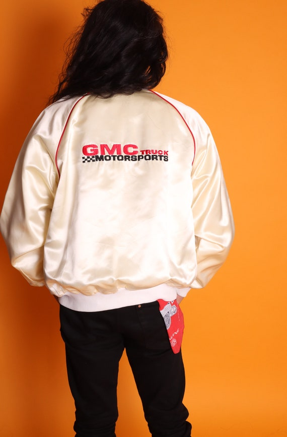 Vintage Men's 1970's Made in USA GMC Truck Embroidered Americano White Satin Bomber Jacket | Vintage Truck | Union Made