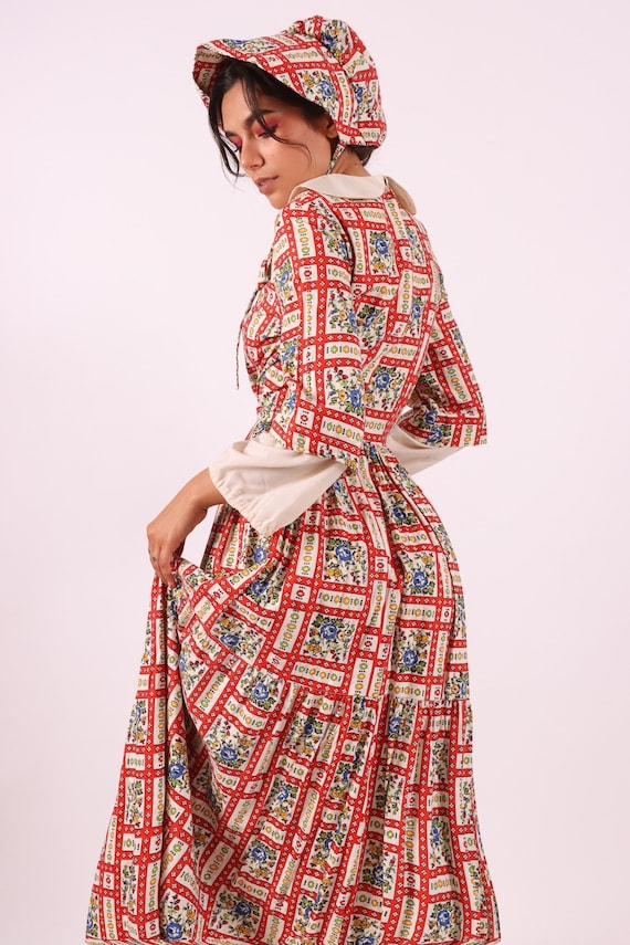 Vintage 1960's Farm Girl Prairie Dress W/ A Matchi