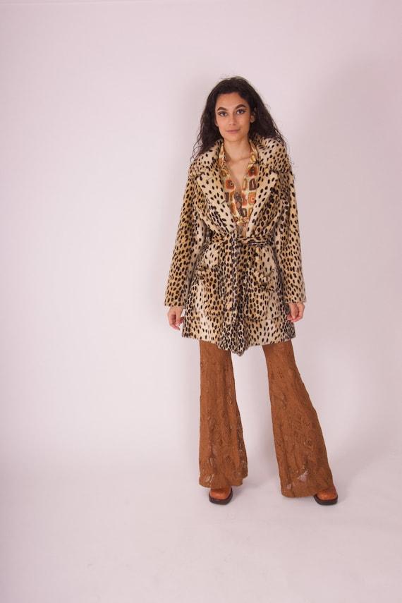 Vintage 1960's 'The Crescent Safari by La France' Glamorous Leopard Faux Fur Cape Coat