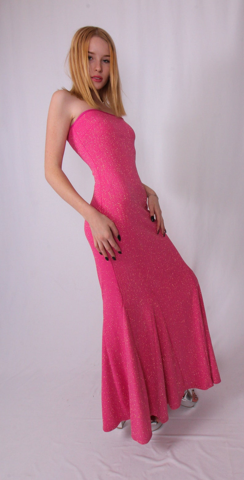 Vintage /'Jessica McClintock for Gunne Sax/' Pink Mermaid Dress Covered In Silver and Pink Glitter