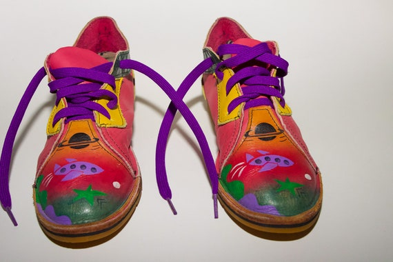 Vintage Unique and Funky Genuine Leather Saturn Cosmic Space Lace Up Shoes