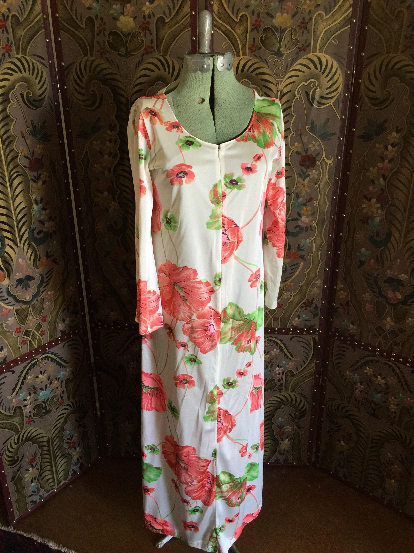 Vintage 1960 floral house dress white poppy and hibiscus vintage 1960 floral house dress white poppy and hibiscus flowers long festival boho sheer izmirmasajfo