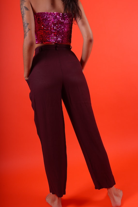 Vintage 'Christina' High Waisted Plum Burgundy Trouser Pant
