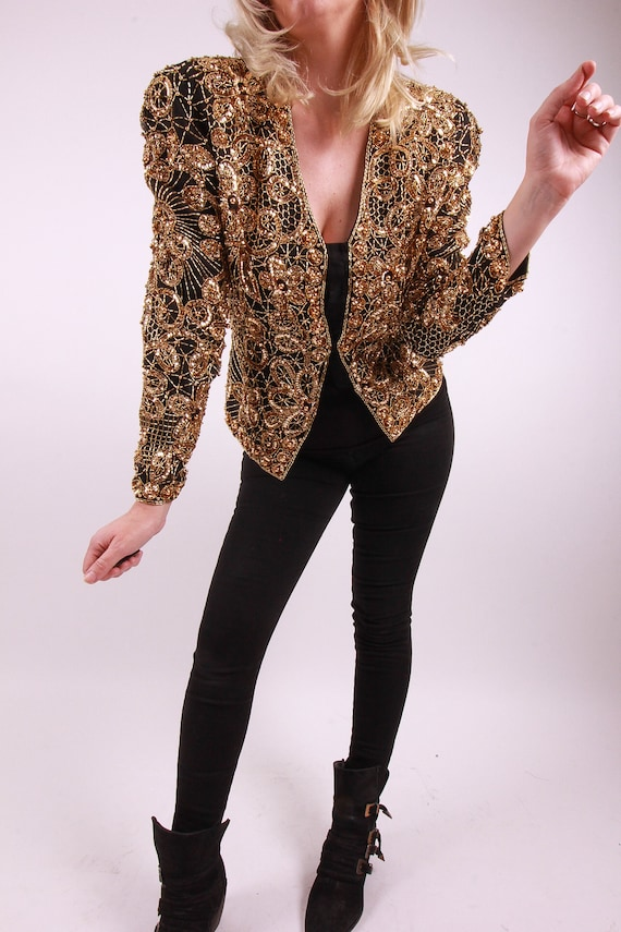 Vintage 'Lillie Rubin' Gold Beaded and Sequin Formal Jacket | Chic Boho | Bolero | Sparkly and Fun