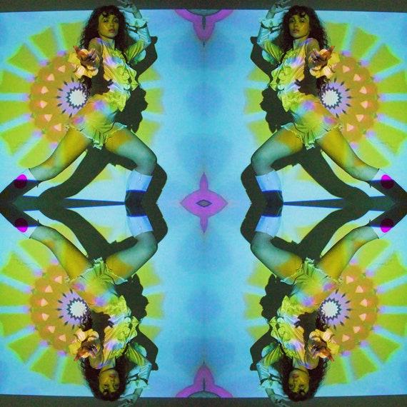 Original Art Vintage Psychedelic Kaleidoscope Sun Album Photography Print