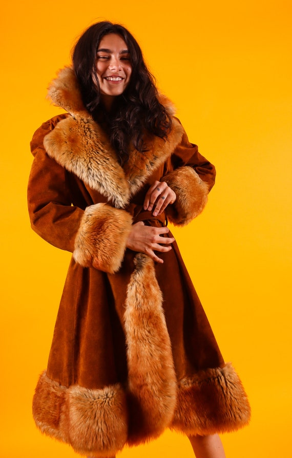 Vintage 'Kristen's' 1960 - 1970's Rust Suede Leather Penny Lane Shearling Plush Coat | Long Jacket | Fur Coat | Winter Coat | Boho Chic