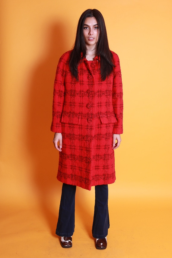 Vintage 'Davidow' 1960's Red and Black Plaid Retro Coat | Classic and Timeless Look