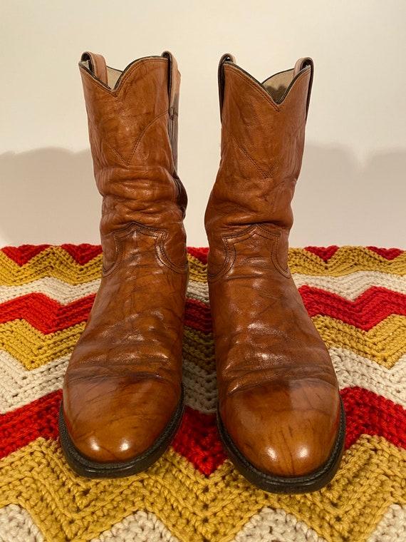 Vintage Men's 'Justin' Tan Brown Brindle Leather Roper Pull On Boot | Western Cowboy | Round Toe