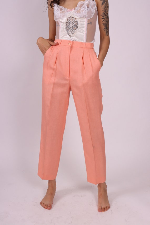 Vintage Peach Orange Pastel 'Bassonova' High Waisted Trouser Pant | Slacks | Spring | Casual Professional