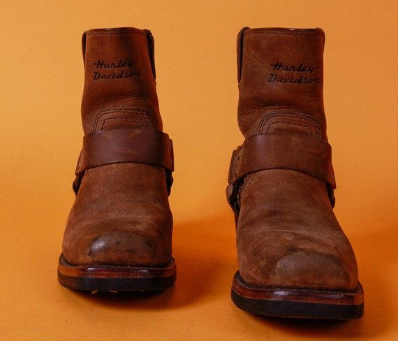 Harley Davidson Brown Distressed Leather Pull On Biker Boots | Moto | Belted