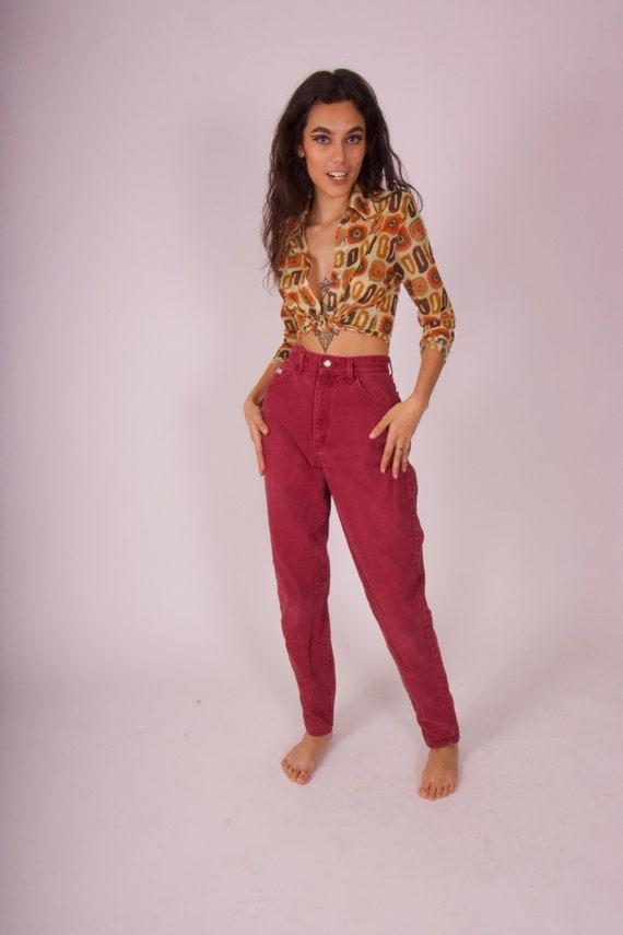 Vintage 90's 'Lee' High Waisted Burgundy Western Jeans