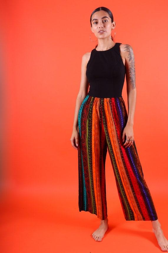 Vintage 90's 'Elizabeth Stuart' Boho Tribal Jumpsuit/Bodysuit W/ Colorful Pants and Open BAck
