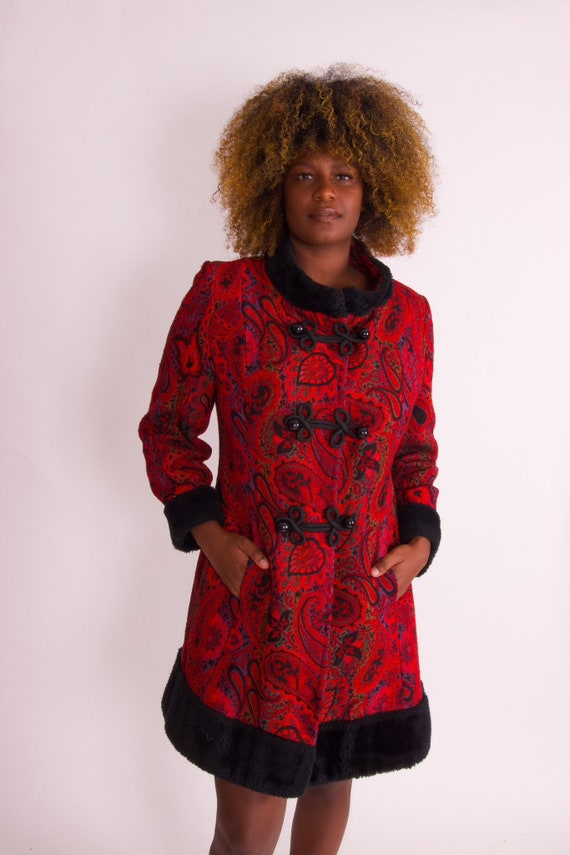 Vintage 1960's Deep Red and Black Tapestry Psychedelic Boho Coat W/ Faux Fur Trim