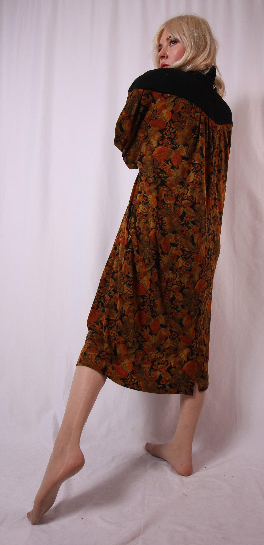 Vintage \'GEMINI Neutral Fall Leaf Turtleneck Dress | Plus Size | Fun ...