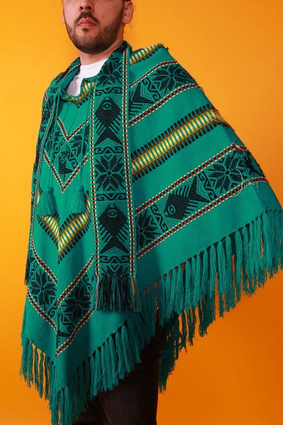 Vintage Unisex Ecuadorian Fringe Tribal Poncho | Teal Green | Festival | Shawl | Sweater